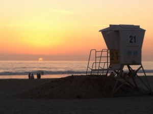 Tower 21 at Sunset, Mission Beach, San Diego.
